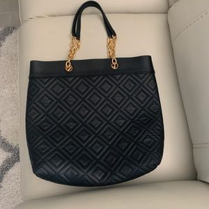 Tory Burch Fleming Quilted Leather Tote Black NWOT